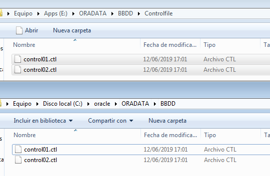 Change location of control files Oracle gpsos