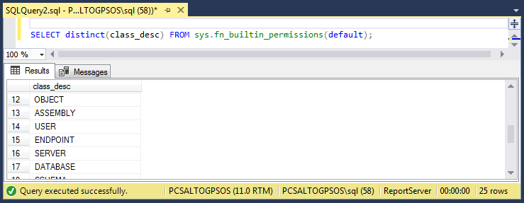 How to know if I have permissions in SQL Server