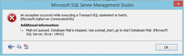 error 14641 database mail is stopped